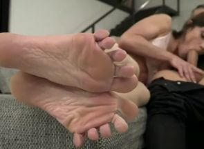 Brown-haired superstar footjob and..