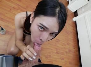 Chinese tranny deep-throats and rails..