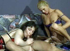Supersluts Take Turns Working A Giant..