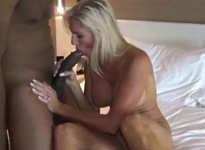 Insatiable  cougar pokes big black..
