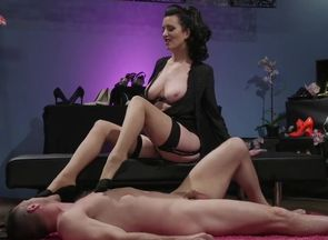 Sole worship boy  being predominated..
