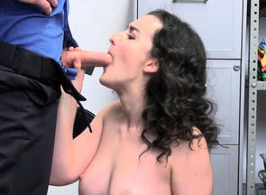 Curly shoplifter honey gets her..
