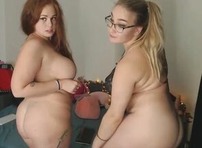 2 bbw's  and juggle their large globes..